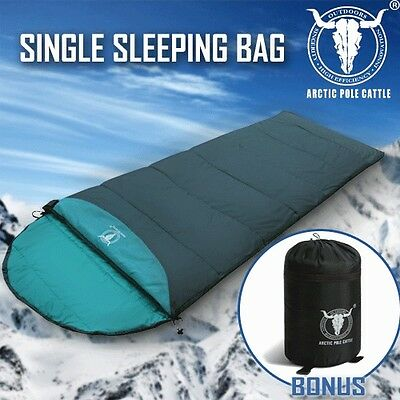 Outdoor Camping Envelope Sleeping Bag Thermal Tent Hiking Winter Single Green