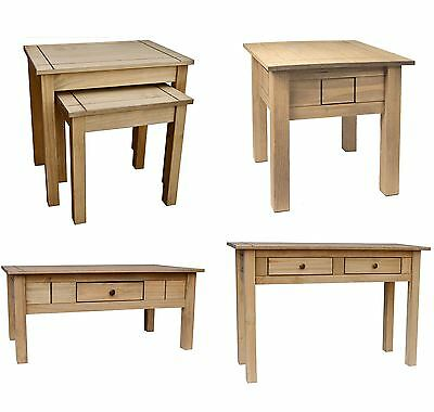Panama Lamp Table, Nest Of 2 Tables, 1 Drawer Coffee Table In Pine, Natural Oak