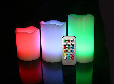 Flameless Set of 3 Battery Operated LED Colour Changing Candles With Remote