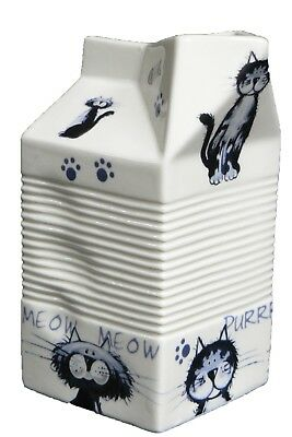 Milk carton shaped jug off white ceramic decorated with fun cats