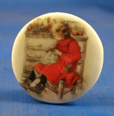 """1"""" Porcelain China Button --  Girl In Red Sewing"""