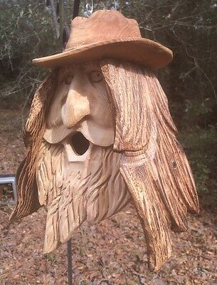 Hand Carved Wood Spirit Old Man Face Cedar Birdhouse Happy Cowboy