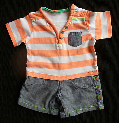 Baby clothes BOY 0-3m George all-in-one t-shirt/shorts orange/white stripe blue