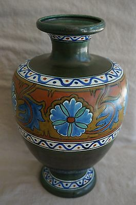"Gouda Pottery Anjer VASE Vintage 1920's - PZH House Logo - HUGE 12.5"" Tall"