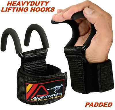Austodex Weight Lifting Power Hooks Wrist Support Bar Straps Gripper Gym Gloves