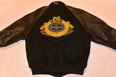 Partagas Cigar Embroidered Advertising Jacket! Black Wool W/leather Sleeves! L