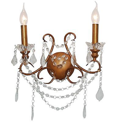 French Cut Glass Antiqued Gold Double Wall Light Chandelier Sconce