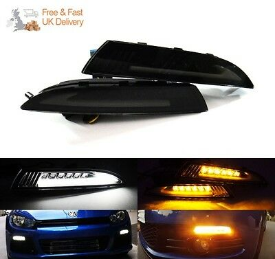 VW Scirocco 08-14 Black Smoked LED Daytime Running Light Side Turn Indicator DRL