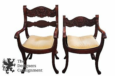 Antique His & Hers Figural Carved Mahogany Throne Chairs Saddle Seat Gothic