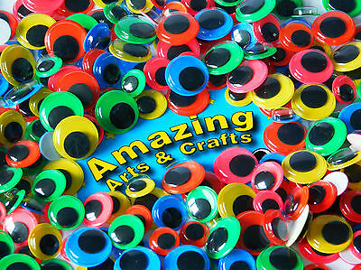 500 Self Adhesive Wiggle Googly Eyes with Colour background Asst size & colour