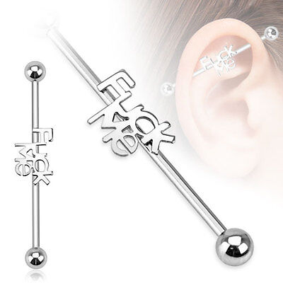 New Surgical Steel Novelty F*ck Me Logo Industrial Scaffold Piercing Barbell