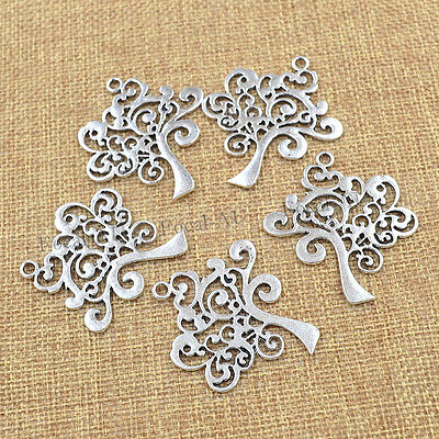 The Tree of Life Pendant for Bracelet Necklace Silver Charms Pretty Gift 5pcs