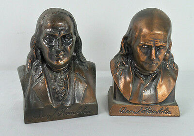 Vintage Pair of Ben Franklin Metal Coin Banks No Key Franklin and Suffolk Banks
