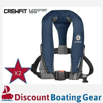 2x NAVY CREWSAVER CREWFIT SPORT 165N Inflatable PFD Manual Life Jacket Boating