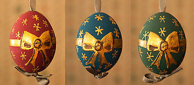 3 BLOWN Easter EGGS Hand painted Austrian BLUE GREEN RED Christmas Ornaments Too