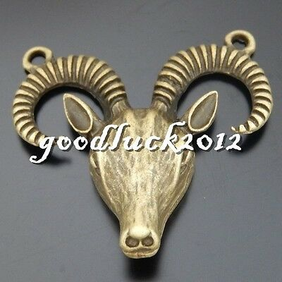 50564 Antique Bronze Alloy Sheep Antelope Pendants Charms Crafts Findings 4x