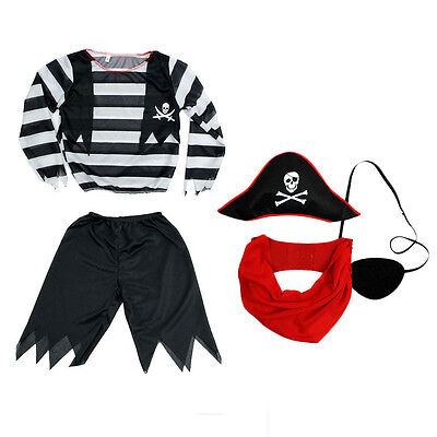 Deckhand Pirate Costume Captain Hook Boys Book Week Fancy Dress for Age 3-7Child