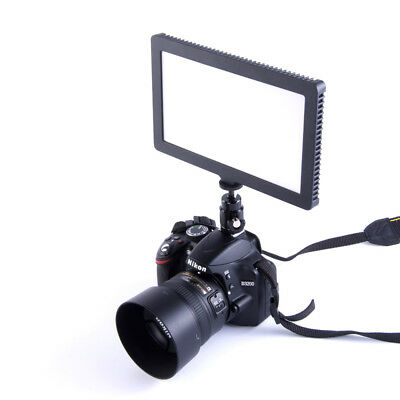 LED Video Light Super Slim Panel Lamp Dimmable For DSLR Camera Camcorder/Adapter