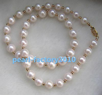 "new 18""  9-10 MM SOUTH SEA NATURAL White PEARL NECKLACE 14K GOLD  CLASP"