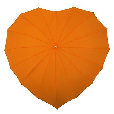 NEW: Wind Resilient ( Windproof ) Orange Heart Shape Party Wedding Umbrella