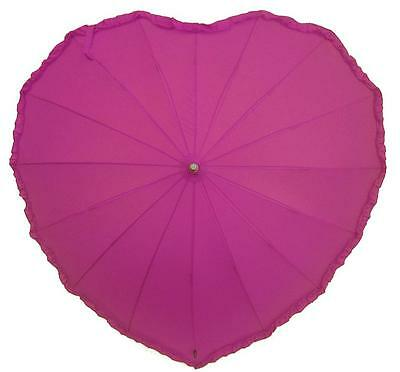NEW: Wind Resilient Windproof  Hot Pink Frilled Heart Shape  Wedding Umbrella