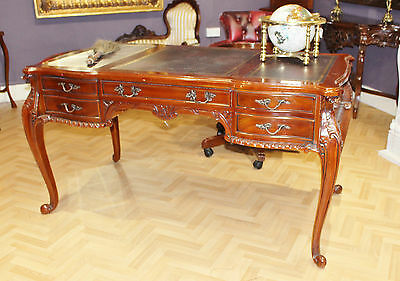 Mahogany Chippendale Partners Desk Office Leather Top Drawers Antique Writing