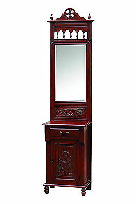 Mahogany Hall Table Stand Display Mirror Stoage Niche 1 Drawer 1 Door Antique