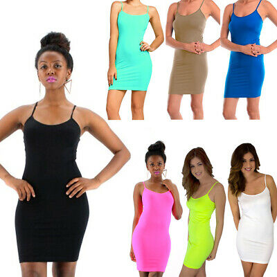 29b603198a Extra Long Seamless Tunic Dress Slip Camisole Layering Tank Top Spandex One  Size