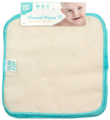 12 Pack Bumkins Reusable Unbleached Cotton Flannel Cloth Baby Wipes - 306534