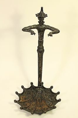 Antique Asian Cast Iron Figural Parasol Umbrella Cane Stand Fireplace Tools