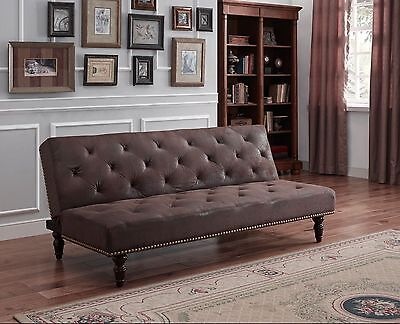 Double Sofa Bed Leather Traditional Vintage Antique Classic Living Room Stylish