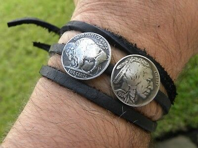 Buffalo Indian Nickel  coins wrap strap bracelet wristband real Bison Leather