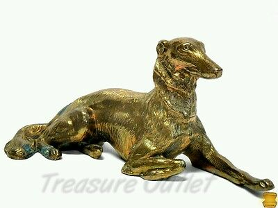 Bronze Brass Borzoi Dog Russian Wolfhound JB 2627 Gold Colored Patina Antique