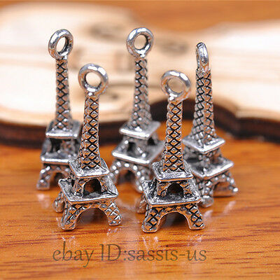 50pcs 21mm charms 3D Eiffel pendant DIY Jewelry Bead Necklace Tibet Silver A7097