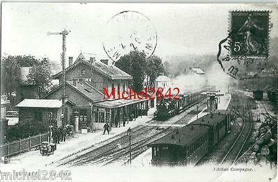 Photo argentique Aumale la gare locomotive train chemin de fer