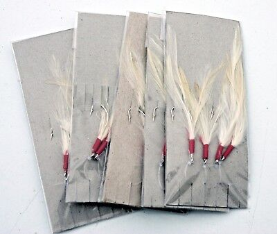Five Packets of White Cod Feathers Traces. 4 Hooks per Trace. Sea Fishing.