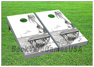 VINYL WRAPS Cornhole Boards DECALS Great White Shark Bag Toss Game Stickers 225