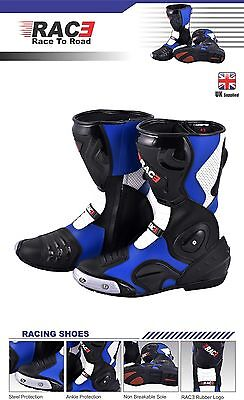 New Original Rac3 Motorcycle Motorbike Real Leather Sports Race Armour Boots