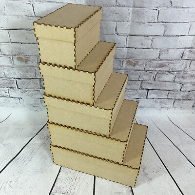 MDF Wooden Decorate Build Your Own Wooden Craft Box with Lid Various Sizes Box