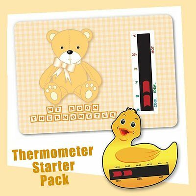 Baby Duck Bath & Brown Bear Nursery Room Thermometer Starter Pack