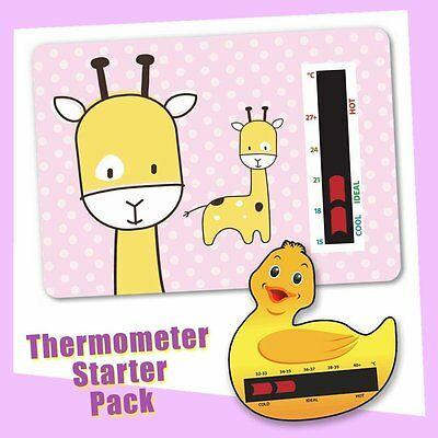 Baby Duck Bath & Pink Giraffe Nursery Room Thermometer Starter Pack