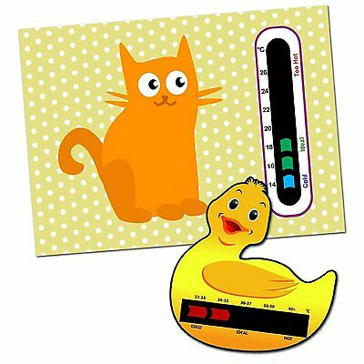 Baby & Child Thermometer Pack - Duck Baby Bath and Cat Baby Room Thermometers