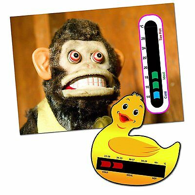 Baby & Child Thermometer Pack - Duck Baby Bath and Monkey Baby Room Thermometers