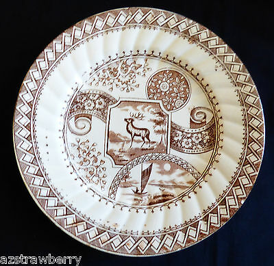 """Antique porcelain Brown on white Stag C.A. & Sons 750 England salad plate 7 7/8"""""""