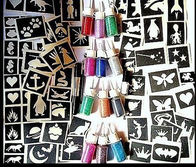 GLITTER TATTOO KIT boys and girls VALUE 124 stencils 12 puffers 2 glue 3 brushes