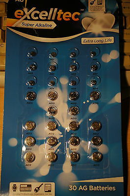 30 Excelltec Alkaline ASSORTED BUTTON CELL WATCH BATTERIES AG1/3/4/10/12/13