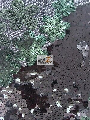 WAVY FLORAL CHEONGSAM GUIPURE SEQUINS FABRIC - Black/Dark Green - BY THE YARD