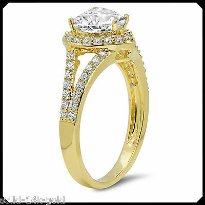 Pearl 1.80CT HEART Cut Synthetic Diamond Solid 14K Yellow GOLD Engagement Ring