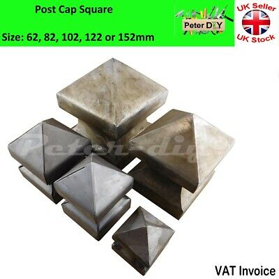 """Square Metal Fence Gate Post Cap Caps Flange 62 or 102 mm """"High Pyramid"""""""