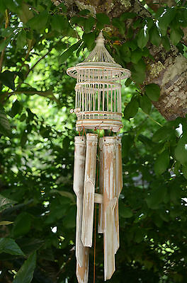 Whitewash or aqua wash Birdhouse Bamboo chimes